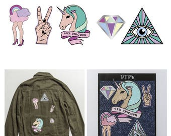 Ladylike Unicorn Trippy Colors Embroidered Sticker Patch Set Good Gals Collection