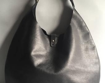 Large black leather round shoulder bag, leather tote bag, black leather bag, black shoulder bag, black handbag, black tote,leather shopper