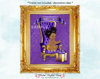 Purple & Gold 8 x 10 Display Sign   Princess African American Afro Puffs Vintage Baby Girl Chair   Digital Instant Download