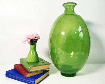 Vintage Art Glass Vase   Green Large Bulbous Oval Floor Vase   Tall Hand  Blown Glass