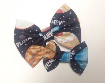 Planet Bow | Glow in the Dark | Fabric Bow | Handmade Hair Bow | Hair Clip | Headband