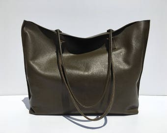 SALE! Large Dark Forest Green Leather Tote