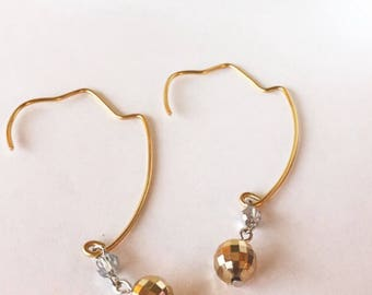 Disco ball threader earrings