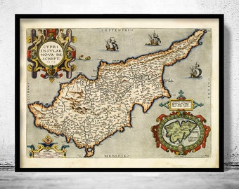Old Map of Cyprus 1573 Vintage Map