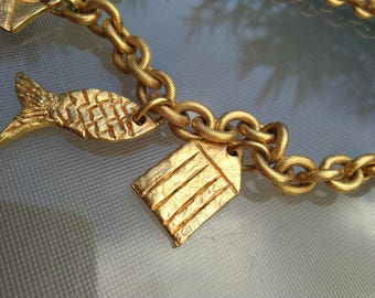 French vintage Signed Paris FC   large chain necklace fish ship sea star engraved  snake chain retro gold necklace gold plated toggle clasp