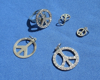 Retro Rhinestone Peace Sign Adjustable Ring Pendants Charms
