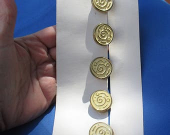 Set Of Creme Colored Enameled Spiral Design Metal Button Covers