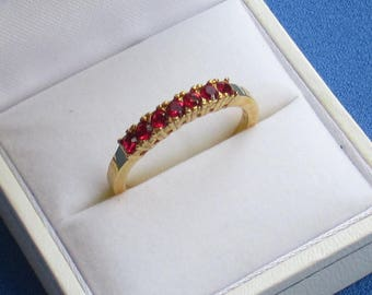 Vintage Red Rhinestone Costume Ring Marked NV