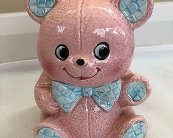 Vintage Kitschy Cute Pink Bear Japan Nursey Planter