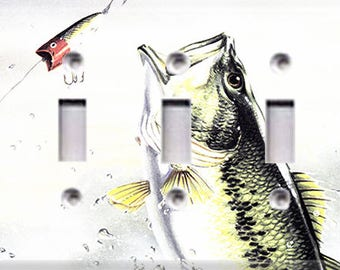 Bass Fishing Triple Light Switch Cover