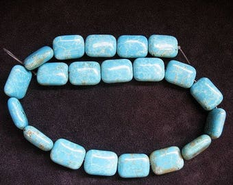 Natural Himalayan Turquoise Bead Strand app 19.5x14.5mm, Natural Turquoise Beads,  chicklet rectangle shaped Turquoise beads