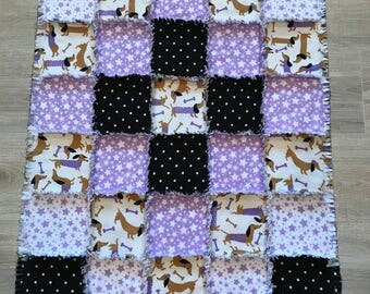 Flannelf fabric quilt, dachshund quilt, dog blanket, flannel blanket, Purple white stars, Polka dot, Baby shower gift, 10% of PP to charity