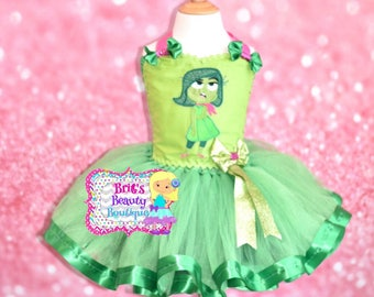 inspired by disgust inside out character tutu dresshalloween costumehalloween dresspageant - Pageant Girl Halloween Costume