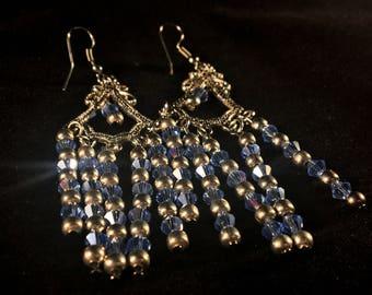 """Artist """"Silver Swarvorski Crystal & Pave Rhinestone"""" Chandelier Earrings"""