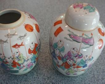 2 Asian GINGER JARS. Japanese? -celebration- dragon festival- lanterns-