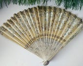Antik Klapp-Fan, japanische Papier Fan, Falten, Papier-Fan, Vintage weiß Silber Blume Fan, orientalische asiatische Pagode, Gold