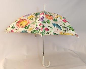 1970s Silk Screen Novelty Print Floral Umbrella