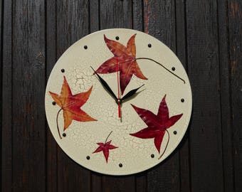 Home wall clock modern wall decor unique clock for wall art clock rustic wall clock cottage chic wall hanging leaf decoration leaves clock