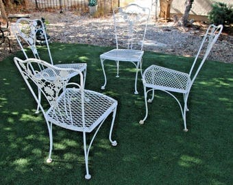 Very Pretty set of four solid hand bent Iron chairs French country garden style safe nationwide shipping available, please call for rates