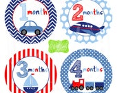 Transportation Baby Monthly Stickers - Transportation Milestone Stickers - Monthly Baby Stickers - Boy Monthly Stickers - 061