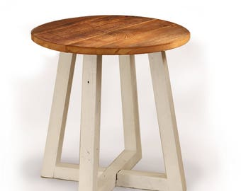 round side table reclaimed wood farmhouse style bedside table beside couch table