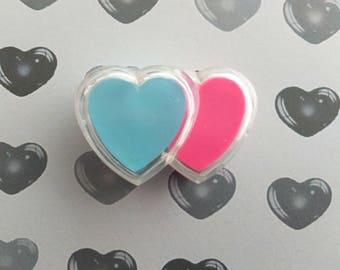 Eraser Double Heart Vintage Box 80s