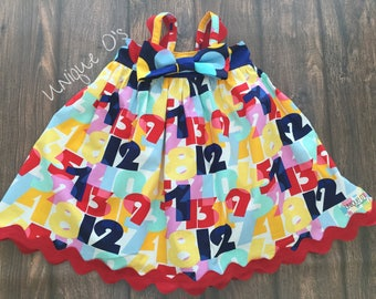 Baby Girls Hattie spring and summer dress with detachable bow, 0-3 months, ready to ship! Bright Primary colors, Cynthia Rowley fabric