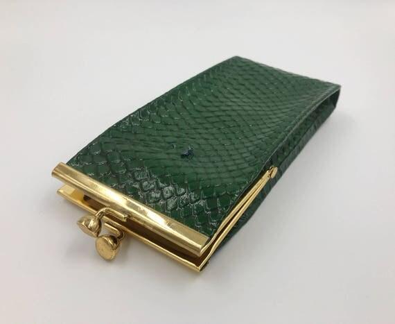 80's Cigarette Case - Green Snake Scales Cigarette Holder Snap Purse - Leather Purse Insert Small Pouch Purse VTG Rare Cigarette Case