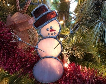 Handmade stained glass snowman