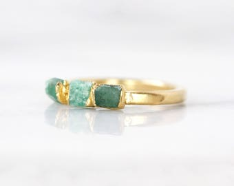 raw emerald jewelry | may birthstone ring | may birthstone jewelry | emerald stacking ring | emerald birthstone ring | genuine emerald ring