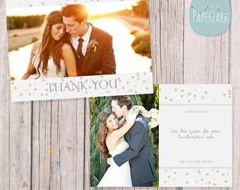 ON SALE Wedding Thank You Card - Photoshop template - AW011 - Instant Download