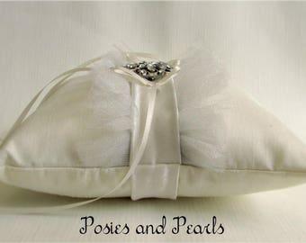 "Ivory Ring Bearer Pillow, Rhinestone Crystal Brooch, Silk, Ruffles, Silver Tulle, Satin Sash, Glam, Wedding Ring Cushion, ""Legacy"""