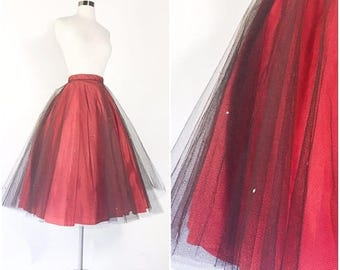 vtg 1950s red taffeta full circle pinup party skirt with sheer black tulle netting / rhinestone studs / high waist / metal zipper / 25 waist