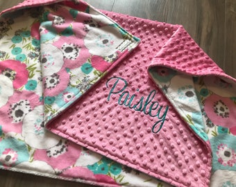 New! Pink and blue floral Double Minky Baby Blanket, SALE!
