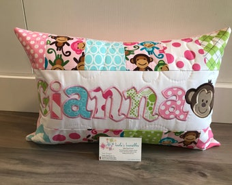 Monkey pillow case, personalized for girl, 12x18 inches