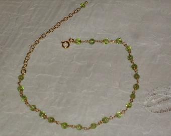 Bracelet chain Anklet silver Massif+ gold 22K_Vrai peridot_fait main_Creation.