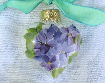 Violets Heart Ornament ~ Handpainted Violets ~ Sweetheart Gift ~ Cottage Chic