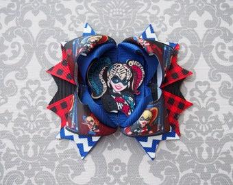 Harley Quinn Hair Bow - Harley Quinn Clip - Joker Hair Bow - Joker Hair Clip - Comic Book Hair Bow - Comic Book Hair Clip