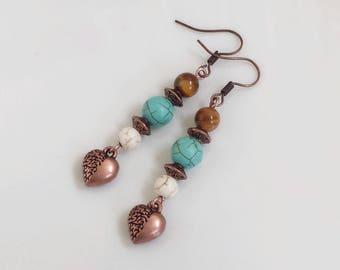 Bohemian earrings howlite and copper hearts