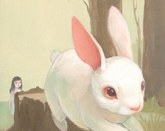 Follow the White Rabbit - 6x6 Art Print