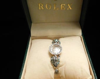 One-of-a-Kind-Vintage-Ladies-Rolex-1960-039-s-Diamond-Bezel-14K-Emerald-Panthers