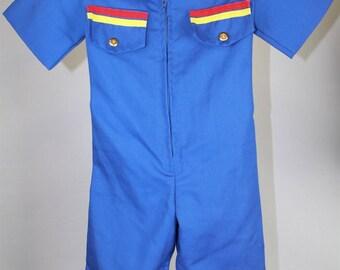 Hollywood Needlecraft Blue Vintage Zip-Front Stripe Leisure Suit SZ Toddler L