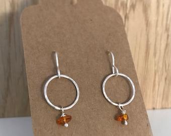 Hammered loop drop earrings with amber bead hook earrings