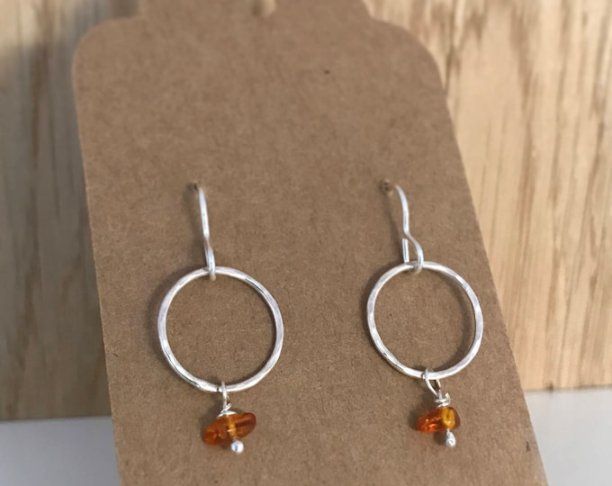 Hammered loop drop earrings with amber bead hook earrings