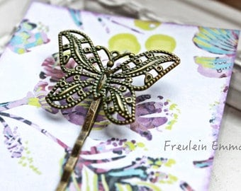 Paperclip Butterfly vintage moss Boho hair clip Patina Moss khaki olive green