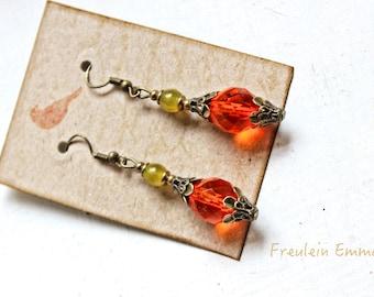 Earrings Boho ORANJA Vintage beads Orange Green Colorful