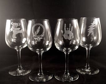 Grateful Dead Wine Glass Set Hand Etched | Steal Your Face, Dancing Bear, Jerry Garcia Hand, 13 Point Lightning Bolt
