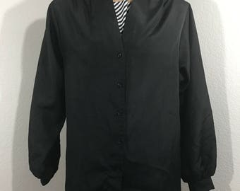 Vintage 1979s Ship 'N Shore Black Faux Layered Blouse Size 10 Adjustable Sleeves
