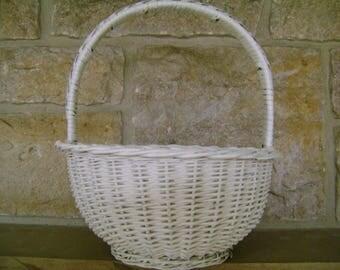 White Wicker Basket Shabby Chic Home Decor