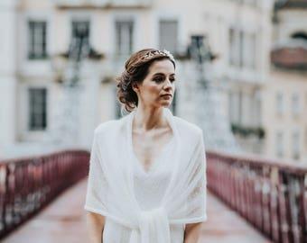 Bridal ivory mohair shawl
